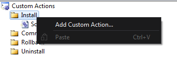 Installer Adding Custom Actions